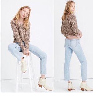 Madewell Shrunken Pullover Sweater in Leopard L